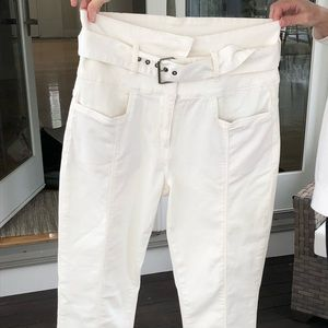 Zara Off White Belted Jeans